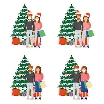 素敵なカップルの男性女性キャラクター立っているクリスマスモミの木ギフトボックス、メリークリスマスお土産バッグ漫画、白で隔離。コンセプト幸せな家族の年末年始、かわいい人。
