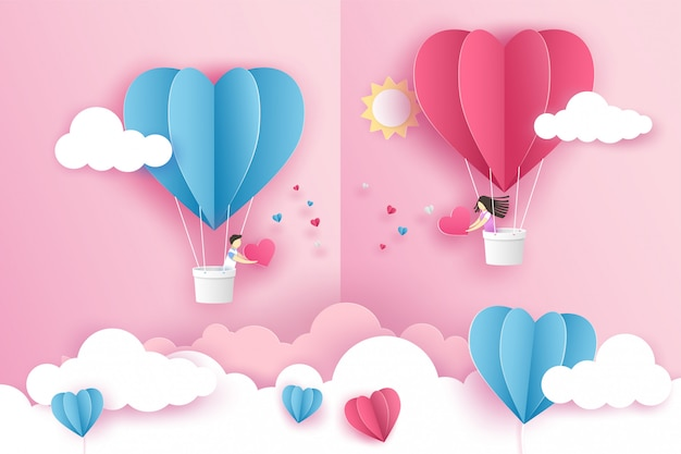 Lovely couple on origami pink balloon heart flying on the sky over the cloud in valentine's day.