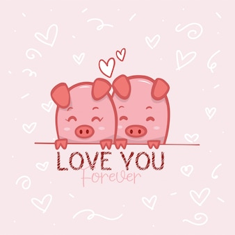 Lovely couple pigs background illustration