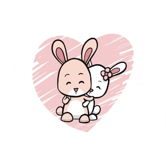 Lovely couple rabbits background illustration