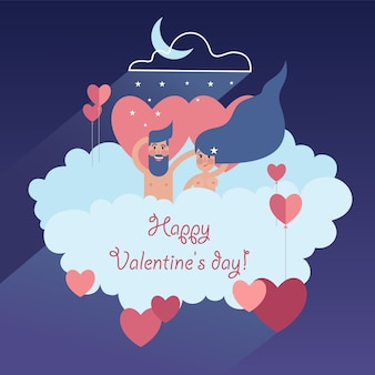 Lovely couple soaring on a cloud with valentines