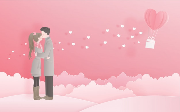 Lovely couple for valentine's card with love concept in sweet paper cut style