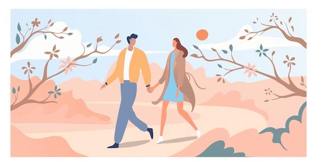 사랑스러운 커플 봄 날 꽃 나무와 꽃, 연인 남성 여성 산책 봄 기간 정원 그림을 걸어.