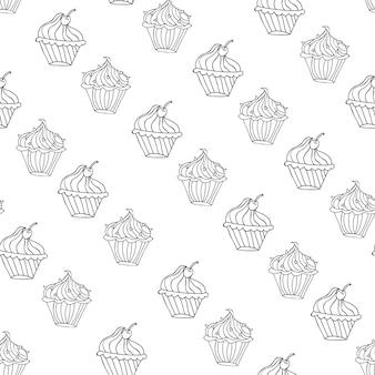 Прекрасный кекс десерт бесшовный фон векторный дизайн иллюстрация