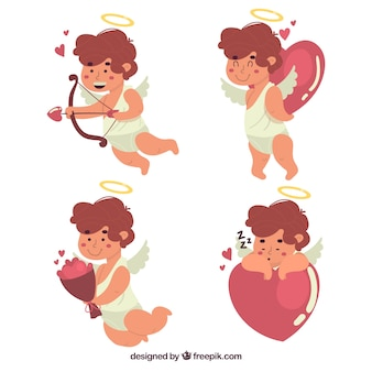 Lovely cupid collection with flat design