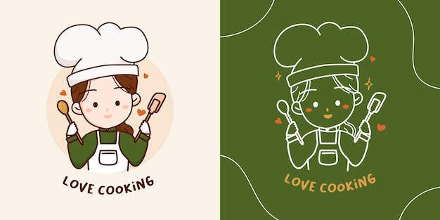 Lovely cute chef girl with wooden spoon and silicone spatula logo elements. hand drawn illustration.