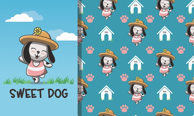 Lovely cute dog in hat seamless pattern