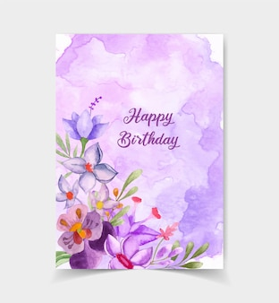 Lovely cute happy birthday card with floral decoration