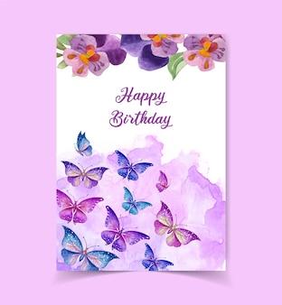 花の装飾が施された素敵なかわいいお誕生日おめでとうカード