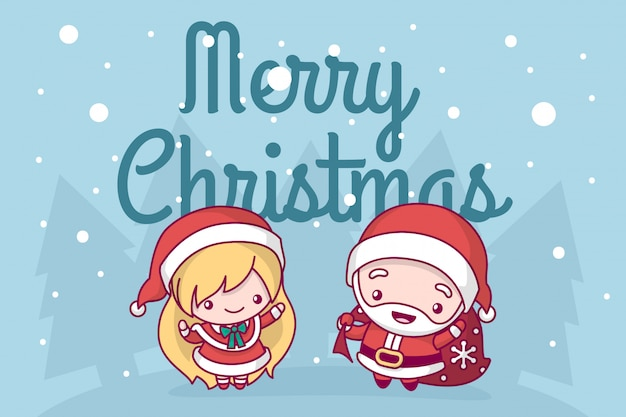 Lovely cute kawaii chibi santa claus with a bag of gifts and a snow maiden are under a snowfall.greeting card