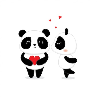 Lovely cute panda bear kissing.