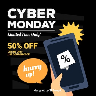 Lovely cyber monday composition with flat design