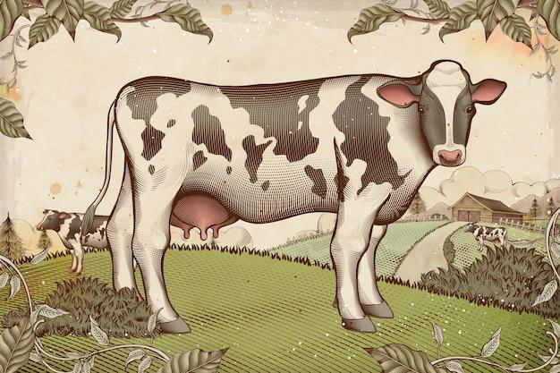 Прекрасный молочный скот в стиле гравюры на сельскохозяйственных угодьях