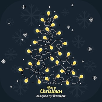 Lovely dark christmas background with light bulb tree