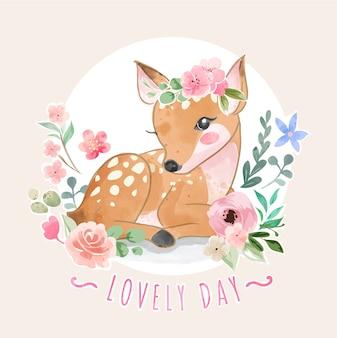 Слоган lovely day с милым оленем и красочной иллюстрацией цветов