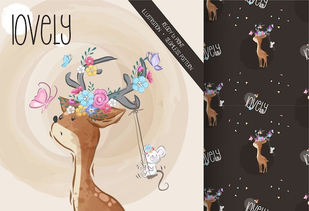Lovely deer cute animal with flower seamless pattern