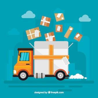 Camion di consegna incantevole con scatole