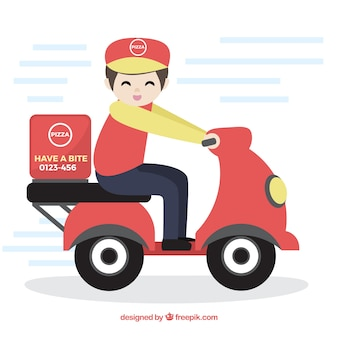 Lovely deliveryman with cap and scooter