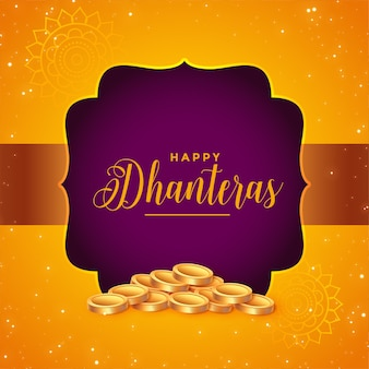 Lovely dhanteras festival card with golden coins