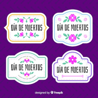 Lovely dia de muertos badge collection