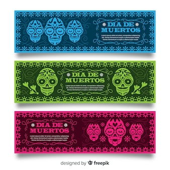 Lovely día de muertos banners with flat design