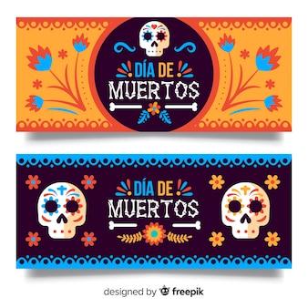 Lovely dia de muertos banners
