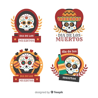 Lovely dia de muertos labels