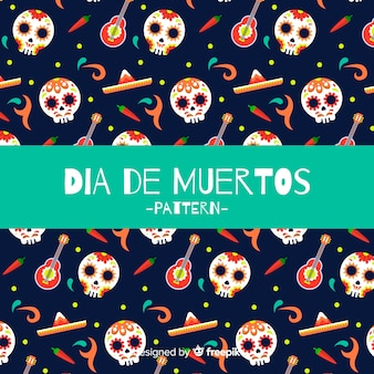 Lovely dia de muertos pattern background