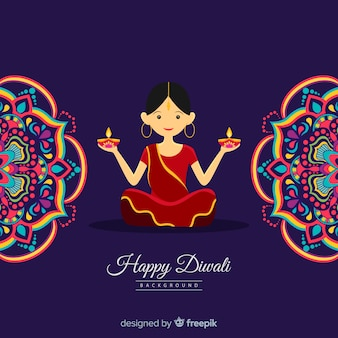 Lovely diwali background with flat design