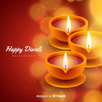 Lovely diwali background with realistic design