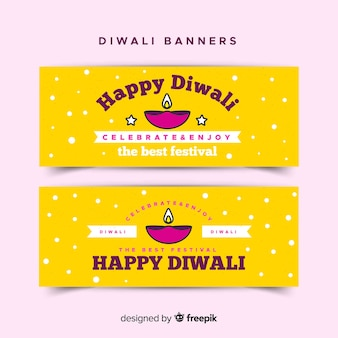 Lovely diwali sale banners with flat design