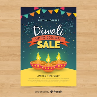 Lovely diwali sale flyer template with flat design