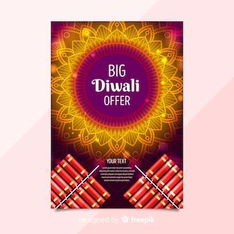 Modello di volantino di vendita incantevole diwali con un design realistico