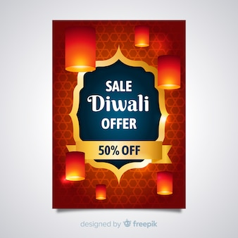 Lovely diwali sale flyer template with realistic design