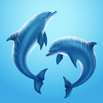 水中の海洋世界で一緒に遊ぶ素敵なイルカ、3dイラスト