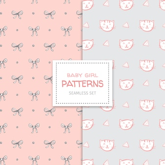Lovely doodle pattern set for a baby girl
