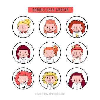 Lovely doodle user avatar collection