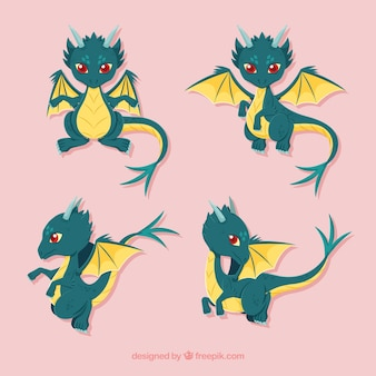 Lovely dragon character collection with flat design