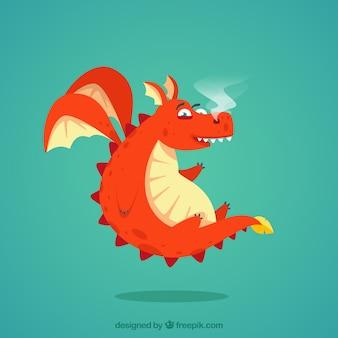 Прекрасный персонаж дракона с плоским дизайном