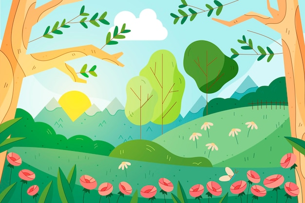 Lovely drawn spring landscape background