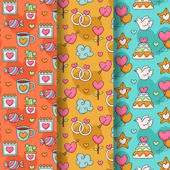 사랑스러운 그려진 발렌타인 패턴 컬렉션