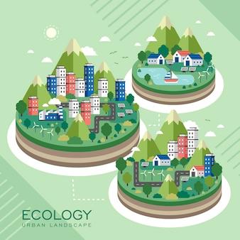 Lovely ecology urban landscape in flat style