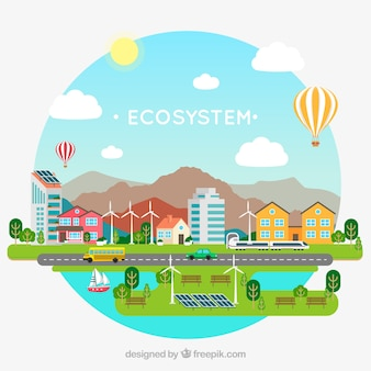 평면 디자인으로 사랑스러운 생태계 개념