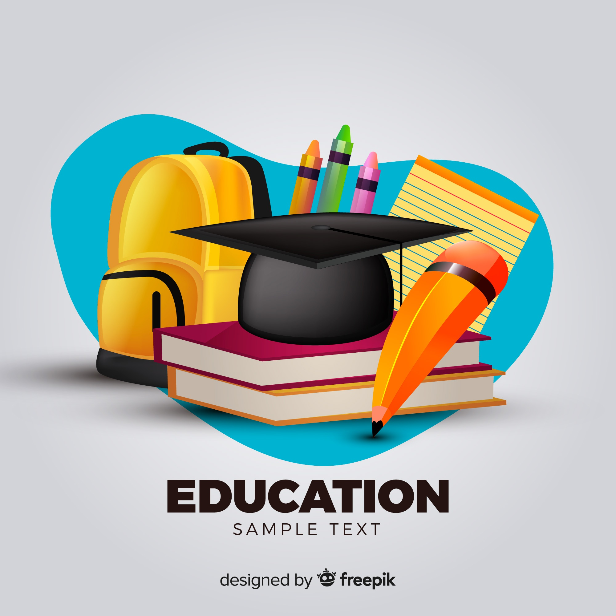 Lovely education concept with realistic design