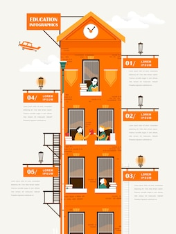 Lovely education infographic template design with apartment