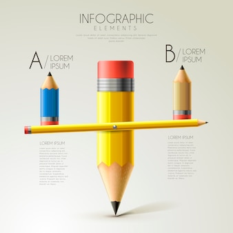 Lovely education infographic template design with pencil seesaw