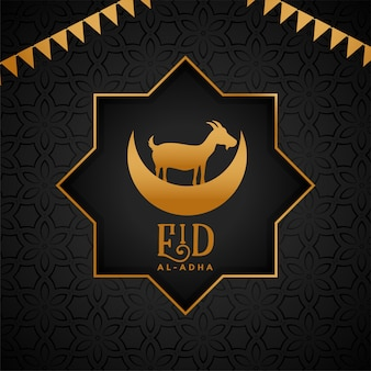 Lovely eid al adha greeting with goat and moon design