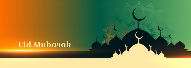 Lovely eid mubarak mosque greeting banner design