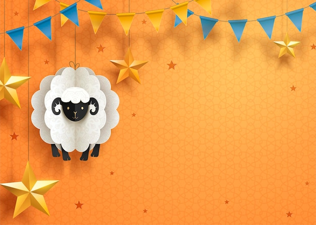 Lovely eid mubarak paper art design with hanging sheep and stars on orange surface, copy space for greeting words