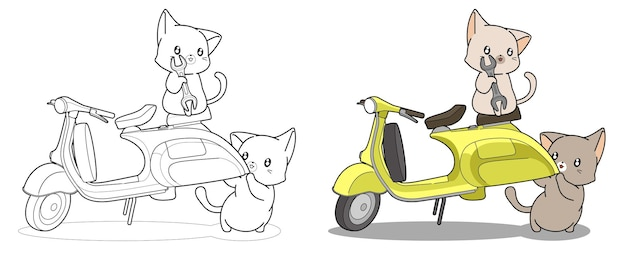 Lovely engineer cats and motorcycle cartoon coloring page